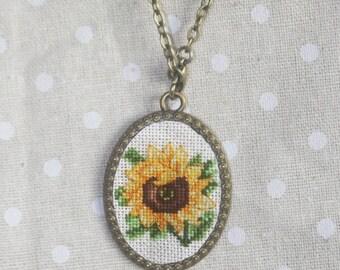 "Cross-stitch pendant ""Sunflower"" in boho style"