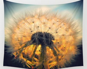 Dandelion Tapestry, Make a Wish Tapestry, Botanical Large Wall Decor, Photo, Modern Decor, Wall Hanging, Nature, Sunset, Dorm, Office