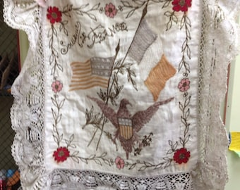 Souvenir de France tattered silk and lace pillow cover Liberation