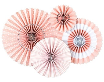 Ballet Pink Party Fans - Party Paper Fans - Pink Party Decor - Paper Fan Backdrop - Pink Backdrop - Pink Pinwheel - Paper Rosettes - PLCP05