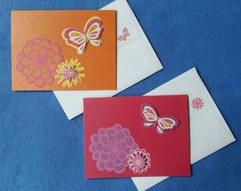Two Handmade Greeting Cards with Dimensional Butterflies and Flowers - orange and magenta metallic blank cards