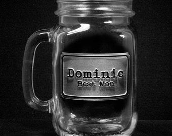 Country Wedding Favors, Mason Jar Mugs, Set of 4 (recgroommason)