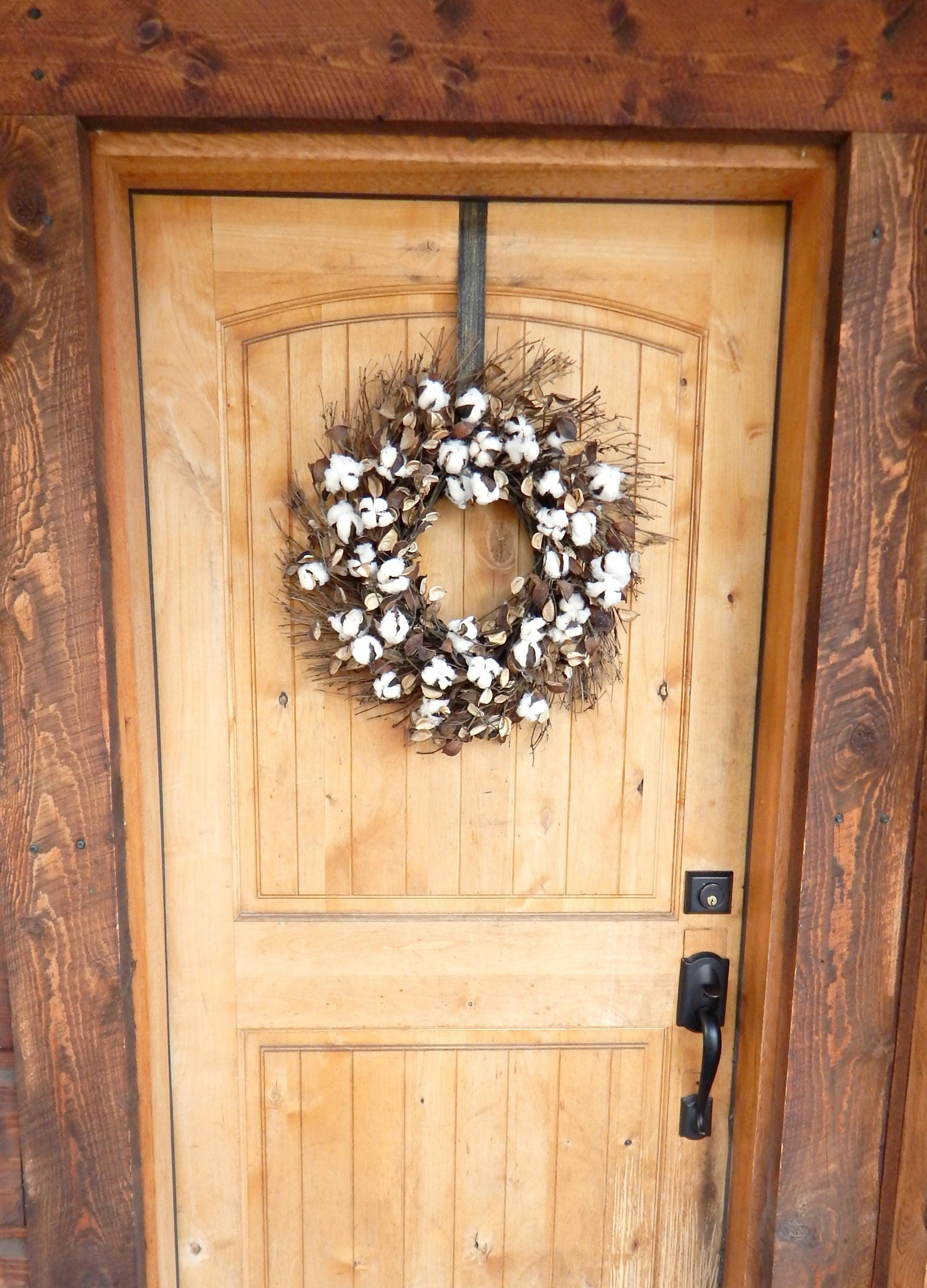Farmhouse Wreath-Cotton Wreath-Fixer Upper Decor-Rustic
