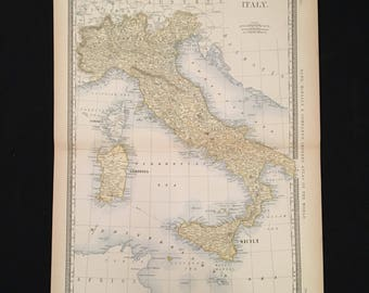 1887 Map of Italy, Original Antique Map, Extra Large Map by Rand McNally, Antique Map for Framing