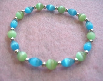Bright Green and Brilliant Blue Mystical Bead Bracelet, Handmade Stretch Bracelet