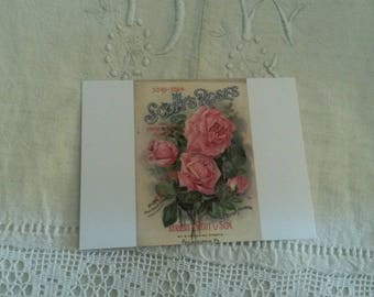 Map postcard shabby chic and romantic for scrapbooking / old rose pattern / embellishment
