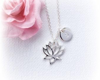 Silver Lotus Necklace, lotus necklace, Personalized Lotus Flower Necklace, flower necklace, Silver Flower Pendant, Lotus Jewelry, SFLOTFLO1