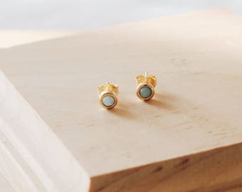 E1126 18KGP Sterling Silver Light Blue Button Tiny Larimar Studs Earrings