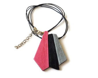 Pink statement necklace, Unique necklaces for women, Birthday gifts for her, Pink pendant necklace, Pink and black, Geometric necklace