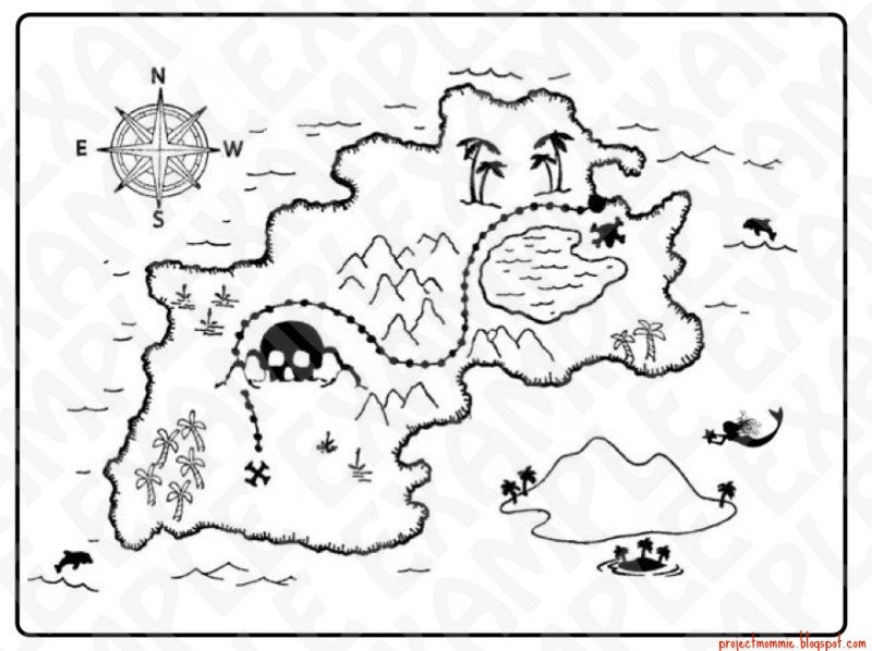 PDF: Treasure Map Pirate Party Sign Silhouette DIY
