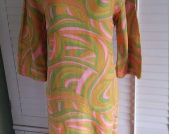 1970's groovy dress, 1970's dress, 1970's hippie dress, hippie dress, 1970's geometric pattern dress,