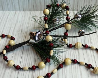 Handmade Wood Bead Garland Christmas Popcorn & Cranberry Look Vintage Style Inspired 8' POPCORN BERRY
