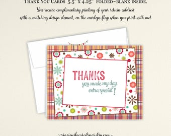 Thank You Cards, Thank You Notes, Thank You Stationery, Thank You Greeting Cards, Birthday, Digital, Printable
