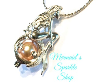 Sterling Mermaid Pearl Cage Pendant Mermaid Moon Waves Pearl Cage Mermaid Cage Pearl Necklace Mermaid Jewelry, Pearl & Chain sold separately