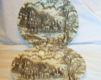 Vintage Royal Mail Staffordshire Ironstone Brown Plates..See Description