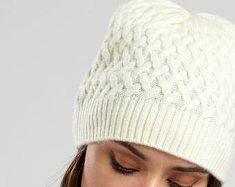 Cream Cashmere Cabled Hat