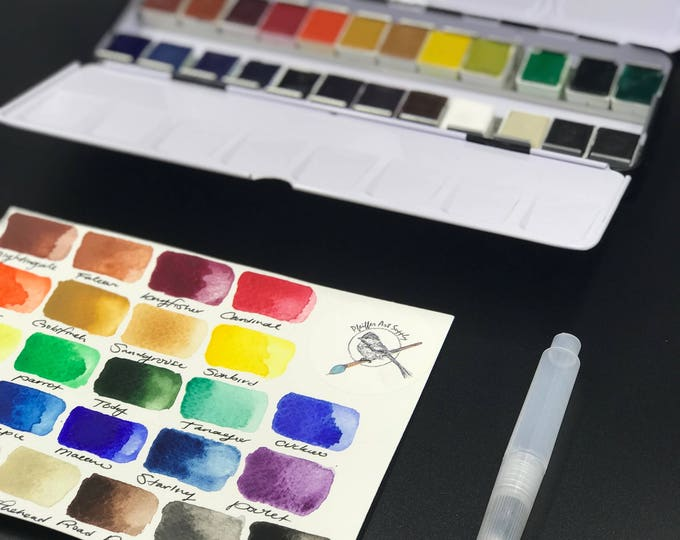 Watercolor Handmade Paint kit  24 HALF pans  non toxic watercolor paint set- Comes with free water brush - Free Shipping in US