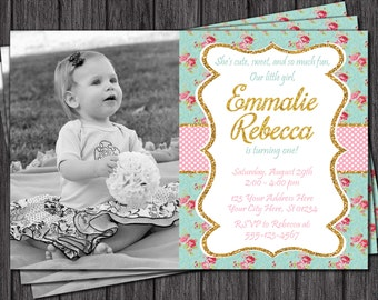 Floral Chic Birthday Invitation - Pink and Gold