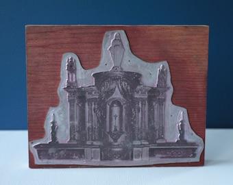 French antique Printing block, altar Catholic church. Photo printer's block, stamp, press