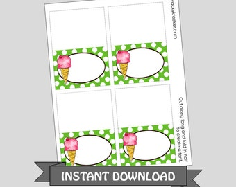 Ice Cream Printable Food Place Cards ~ Tent Cards