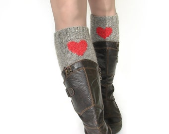 Hand knitted boot cuffs gray with red hearts Women fashion boot toppers Funny cute birthday handmade gifts for girlfriend Wool knee warmers