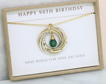 90th birthday gift, May birthstone necklace 90th, emerald necklace for 90th birthday, grandmother - Lilia