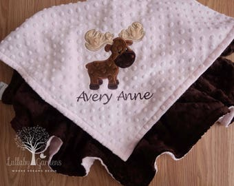 Personalized Moose Baby Blanket, Personalized Minky Baby Blanket, Baby Girl Blanket, Baby Boy Blanket, Appliqued Moose Baby Blanket