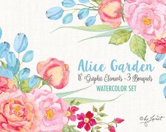 Alice Garden - Floral Watercolor Elements - PNG file - illustration