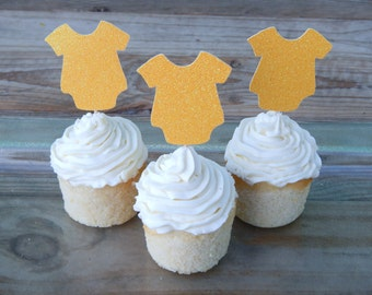 CLEARANCE. Baby Bodysuit Cupcake Toppers.
