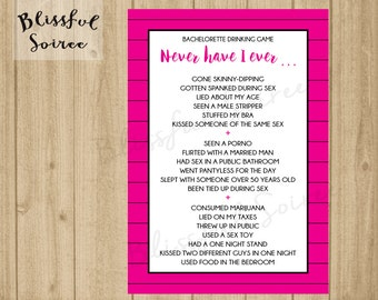 Bachelorette Party Game | Never Have I Ever | Lingerie Shower Game | Bachelorette Game | I've Never | Drinking Game | Pink & Black