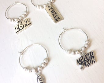 SALE Full Marathon and Half Marathon Set of 4 Wine Glass Charms! 20mm x 25mm Perfect as a Gift for Fitness, Running and Wine Addicts!