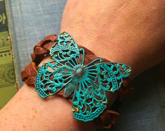 Butterfly Brass and Leather Bracelet, braided comfortable bracelet with snap closure