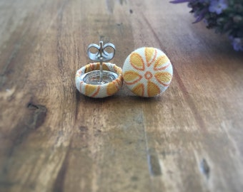 Lemon Earrings. Yellow Earrings. Vintage Floral Fabric. Handmade Earrings. Fabric Covered Button Earrings. Stud Earrings. Clip On Earrings.