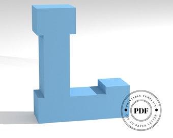 Printable DIY template (PDF).  Letter L low poly paper model template. 3D paper lettering. Origami. Papercraft. Cardboard alphabet.