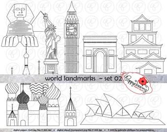 World Landmarks Line Art (Set 2) Digital Clip Art: Sydney Opera Statue Liberty Big Ben Sphinx Hiroshima Castle St Basil Travel