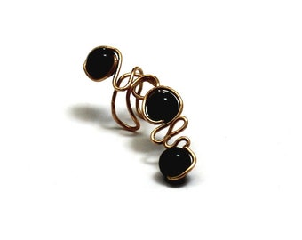 Gold Brass Ear Climber, Ear Cuff Black Onyx Stone Earring, OFAK Trendy Jewelry Unique Gift for Fashionista Girlfriend Daughter Mother In Law