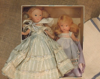 Two Vintage Nancy Ann Dolls / Storybook Dolls / Original Doll Clothes / Hand Painted Face