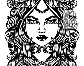 Cordelia Paper Cutting Template for Personal or Commercial Use Mermaid Ocean Siren of the Sea by Wildchild Designs Fish Woman Mythical