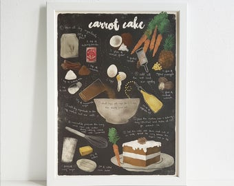 Illustrated recipe art print | Carrot cake | Illustrated food | Kitchen art