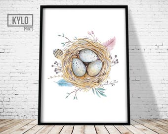 Bird Nest Print, Printable Art, Watercolour Art, Bird Nest Illustration, Nursery Art Print, Minimalist Print, Gift Ideas, Bohemian, Boho Art