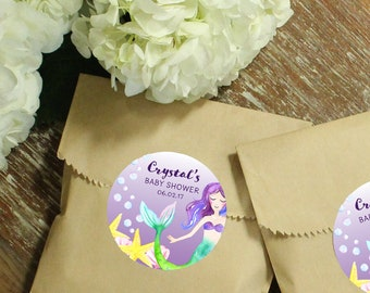 24 Paper Favor Bags - Mermaid Label | Wedding Favor Bags | Bridal Shower Favor Bags | Kraft Favor Bags | Baby Shower Favors | Animals label
