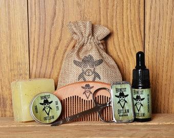 Honest Outlaw Beard Grooming Kit - Beard Grooming Gift Set - Beard Oil,  Beard Balm,  Beard Soap, Comb, Tash Wax & Scissors