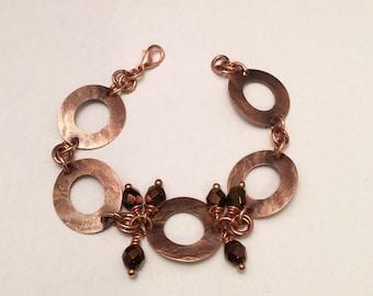 Copper and Czech Crystal Bracelet