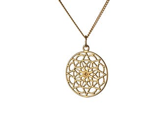 Circle Mandala  14K Gold Filled Pendant Necklace Tribal Necklace Gold Choker Jewellery Handmade Free UK delivery GP36
