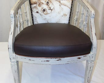 SOLD Cat nap chair Up cycled Furniture, Upholstered Vintage Chair, Re-purposed, in leather