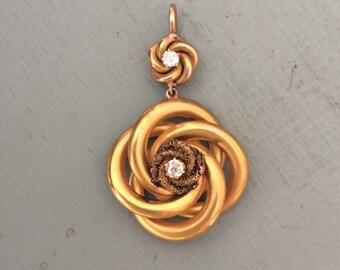 Vintage 14k Gold and Diamond Swirl Pendant