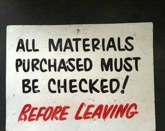 Vintage metal sign| shop sign| lumberstore hardware