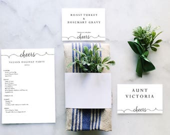 DIY Printable Spring Menu Set - Mother's Day - Printable Wedding Menu,  Buffet Cards, Place cards - Cheers -Editable PDF - Dinner Party