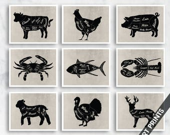 Butcher Diagram Series Collection - Set of 9 - Art Prints (Featured in Featured in Black on Vintage Linen) Customizable Kitchen Prints
