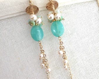 Azzura Earrings, Fine Peruvian Opal, Pearl and 14K Gold Fill, Ocean, Long Dangle Chandeliers, Gemstone